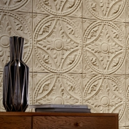 Tin tiles imitation wallpaper beige