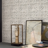 Tin tiles imitation wallpaper white
