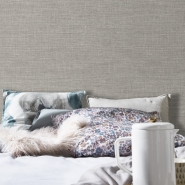 Canvas jute imitation wallpaper grey-taupe