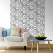 Tiles imitation wallpaper grey