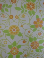 vintage floral wallpaper green orange