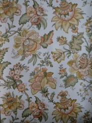 vintage floral wallpaper orange green