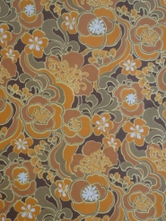 vintage floral wallpaper yellow orange brown