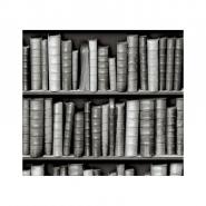 black and white bookshelve wallpaper
