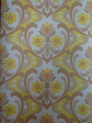 vintage floral wallpaper brown yellow