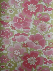 vintage floral wallpaper green pink