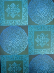 geometric vintage wallpaper blue