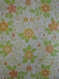 vintage floral wallpaper green orange