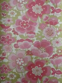 vintage floral wallpaper green pink
